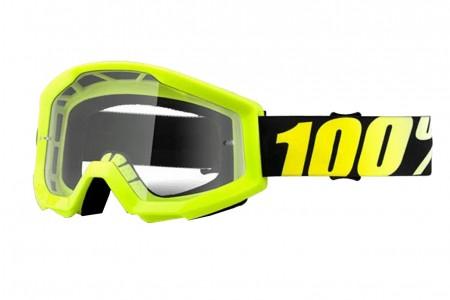 100% gogle Strata Neon yellow żółty czarny szybka przezroczysta