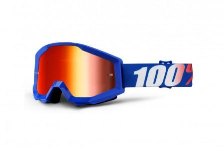 100% Gogle STRATA NATION (Szyba Czerwona Lustrzana Anti-Fog + Szyba Przezroczysta Anti-Fog) Blue 2020