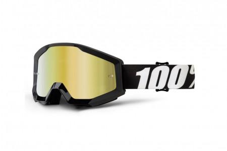 100% Gogle STRATA OUTLAW (Szyba Złota Lustrzana Anti-Fog + Szyba Przezroczysta Anti-Fog) Black 2020