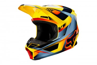 FOX kask V1 motif Yellow 2019